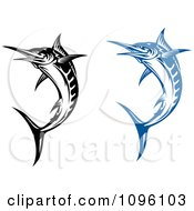 Clipart Blue And Black And White Billfish Royalty Free Vector Illustration