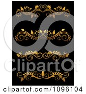 Clipart Golden Flourish Rule And Border Design Elements 13 Royalty Free Vector Illustration