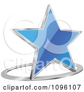 Clipart 3d Shiny Blue Star And Chrome Ring Royalty Free Vector Illustration