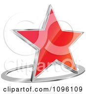 Clipart 3d Shiny Red Star And Chrome Ring Royalty Free Vector Illustration