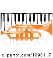 Clipart Orange Trumpet And Piano Keyboard Royalty Free Vector Illustration