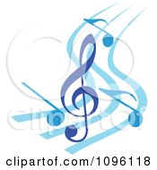 Clipart Blue Music Notes And Clef Royalty Free Vector Illustration