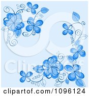 Clipart Blue Floral Background With Vine Corners Royalty Free Vector Illustration