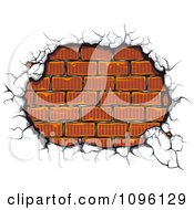 Clipart Exposed Brick Wall And Cracking Cement Royalty Free Vector Illustration