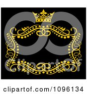 Clipart Gold Ornate Swirl Frame With A Crown And Copyspace On Black 2 Royalty Free Vector Illustration
