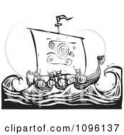 Viking Warriors And A Dragon Ship At Sea Black And White Woodcut