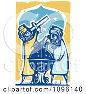 Clipart Male Astronomers Using A Telescope And Globe Royalty Free Vector Illustration by xunantunich
