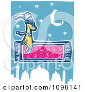 Clipart Arabian Man Flying On A Magic Carpet Over A Mosque Royalty Free Vector Illustration