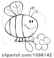 Clipart Outlined Happy Bee Flying With A Daisy Flower Royalty Free Vector Illustration