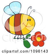 Clipart Happy Bee Flying With A Red Daisy Flower Royalty Free Vector Illustration