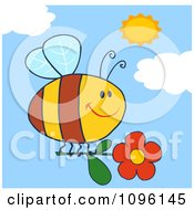 Clipart Happy Bee Flying With A Red Daisy Flower In A Sunny Sky Royalty Free Vector Illustration