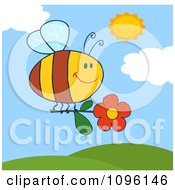 Clipart Happy Bee Flying With A Red Daisy Flower Over Hills Royalty Free Vector Illustration