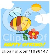 Clipart Happy Spring Greeting Under A Bee Flying With A Red Daisy Flower In A Sunny Sky Royalty Free Vector Illustration
