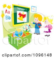 Clipart School Boy And Girl Returning Back To School And Standing In A Class Room Royalty Free Vector Illustration