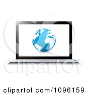 Clipart Blue Globe On A 3d Laptop Screen Royalty Free Vector Illustration by michaeltravers