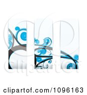 Clipart Blue Floral Wave Panels Royalty Free Vector Illustration by michaeltravers