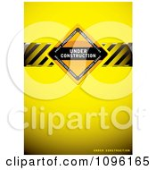 Clipart Yellow Under Construction Background With A Sign And Hazard Stripes Royalty Free Vector Illustration