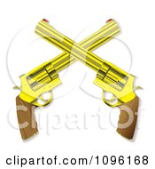 Clipart 3d Wooden And Gold Crossed Hand Guns Royalty Free Vector Illustration