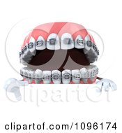 Clipart 3d Metal Mouth Teeth Character With Braces And A Sign 5 Royalty Free CGI Illustration