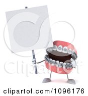 Clipart 3d Metal Mouth Teeth Character With Braces And A Sign 7 Royalty Free CGI Illustration