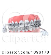 Clipart 3d Metal Mouth Teeth Character With Braces And A Sign 4 Royalty Free CGI Illustration