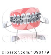 Clipart 3d Metal Mouth Teeth Character With Braces Pointing At Itself Royalty Free CGI Illustration