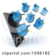 Clipart 3d Chubby Blue Birds Flying From A Cell Phone Royalty Free CGI Illustration