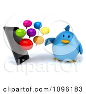 Clipart 3d Chubby Blue Bird And Messenger Clouds By A Cell Phone Royalty Free CGI Illustration by Julos