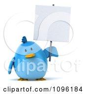 Clipart 3d Chubby Blue Bird Holding A Sign Royalty Free CGI Illustration
