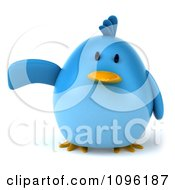 Clipart 3d Chubby Blue Bird Pointing Or Presenting Royalty Free CGI Illustration