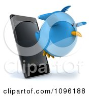Clipart 3d Chubby Blue Bird Flying From A Cell Phone Royalty Free CGI Illustration
