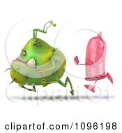 Clipart 3d Pink Condom Chasing A Monster Virus 2 Royalty Free CGI Illustration