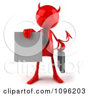 Clipart 3d Red Bob Devil Businessman Holding A Contract Out 1 Royalty Free CGI Illustration