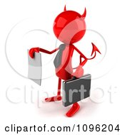 Clipart 3d Red Bob Devil Businessman Holding A Contract Out 2 Royalty Free CGI Illustration by Julos