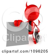 Clipart 3d Red Bob Devil Businessman Holding A Contract Out 3 Royalty Free CGI Illustration by Julos