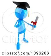 Clipart 3d Blue Bob Character Graduate Holding A Diploma 1 Royalty Free CGI Illustration