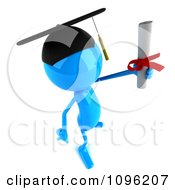 Clipart 3d Blue Bob Character Graduate Holding A Diploma 2 Royalty Free CGI Illustration