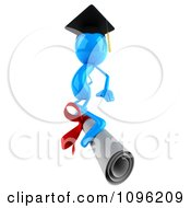 Clipart 3d Blue Bob Character Graduate Surfing On A Diploma 2 Royalty Free CGI Illustration by Julos