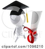 3d White Bob Character Graduate Holding A Diploma