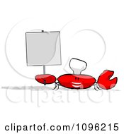 Clipart Cartoon Chef Crab Holding A Sign 2 Royalty Free Illustration