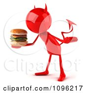 Clipart 3d Red Devil Bob Holding Out A Cheeseburger 2 Royalty Free CGI Illustration