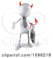 Clipart 3d White Bob Devil Businessman Holding His Hand Out To Shake Royalty Free CGI Illustration