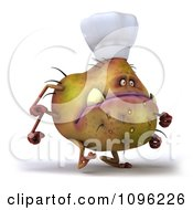 Clipart 3d Chef Monster Germ Walking Royalty Free CGI Illustration by Julos