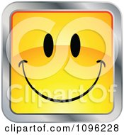 Clipart Happy Yellow And Chrome Square Cartoon Smiley Emoticon Face 1 Royalty Free Vector Illustration