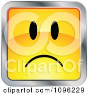 Clipart Sad Yellow And Chrome Square Cartoon Smiley Emoticon Face Royalty Free Vector Illustration