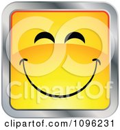 Clipart Happy Yellow And Chrome Square Cartoon Smiley Emoticon Face 2 Royalty Free Vector Illustration