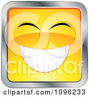 Clipart Happy Yellow And Chrome Square Cartoon Smiley Emoticon Face 4 Royalty Free Vector Illustration