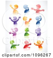 Clipart Expressional Colorful Male Avatars And Reflections Royalty Free Vector Illustration by TA Images