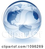 Clipart 3d Shiny Blue Earth Globe Royalty Free Vector Illustration
