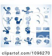 Clipart Expressional Blue Male Avatars With Dialogue Boxes And Elements Royalty Free Vector Illustration